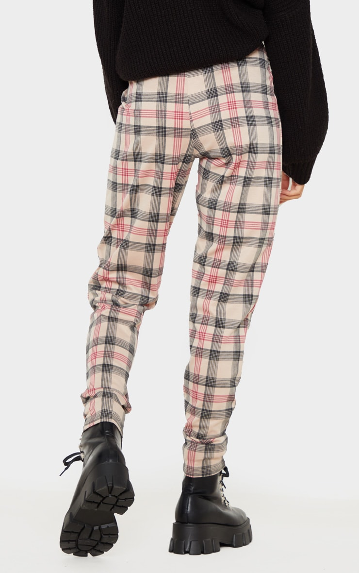 Brown Check Belted Skinny Pants 4