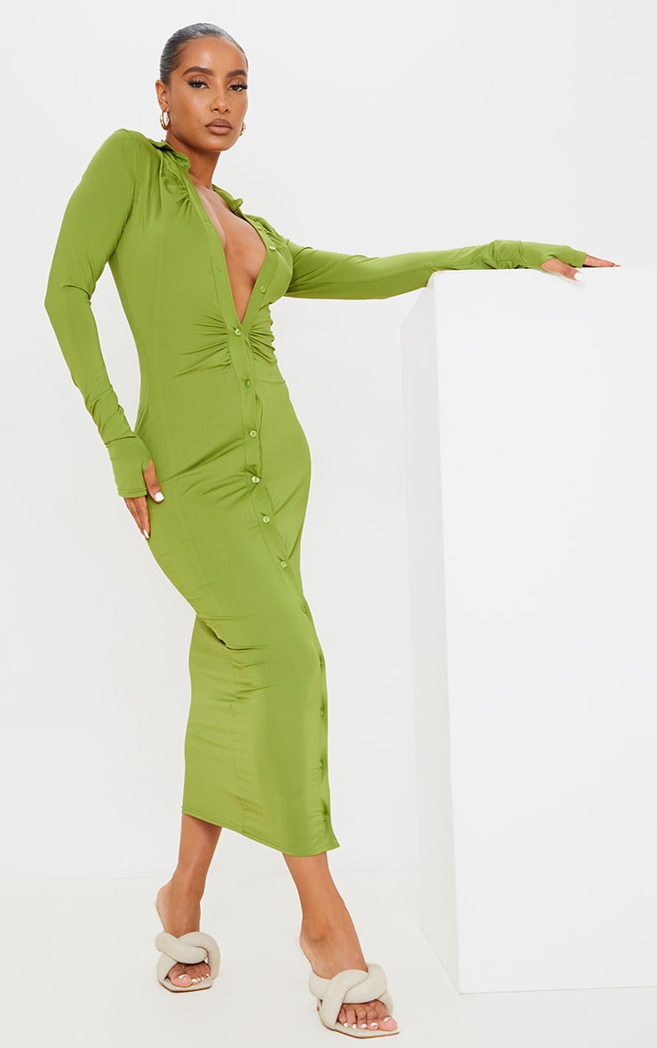 Green Slinky Ruched Button Down Midi Shirt Dress 3