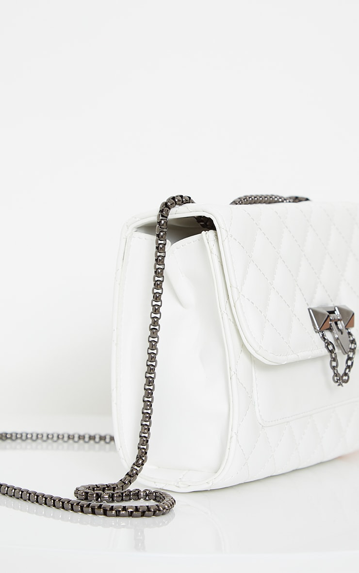 White Diamond Quilted Cross Body Bag 3