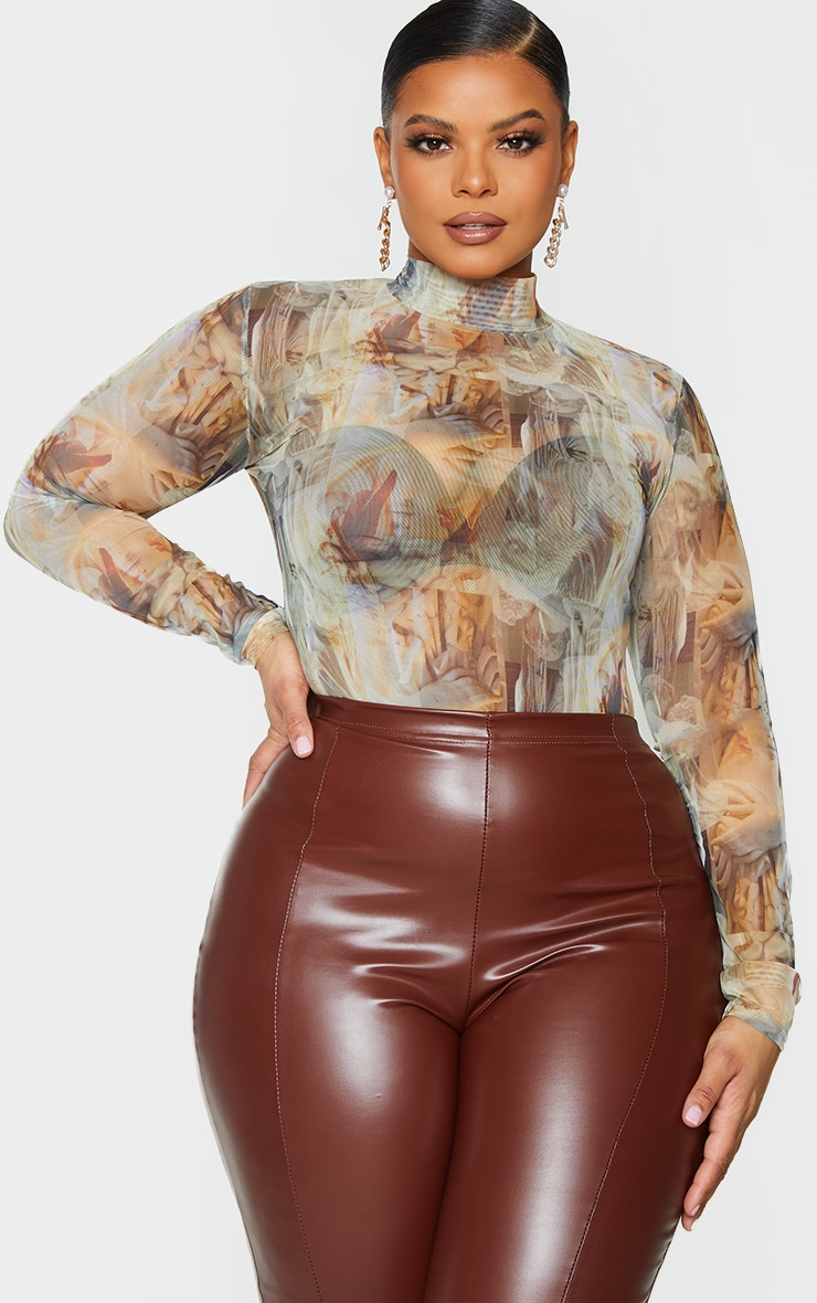 Plus Nude Statue Print High Neck Mesh Bodysuit 3