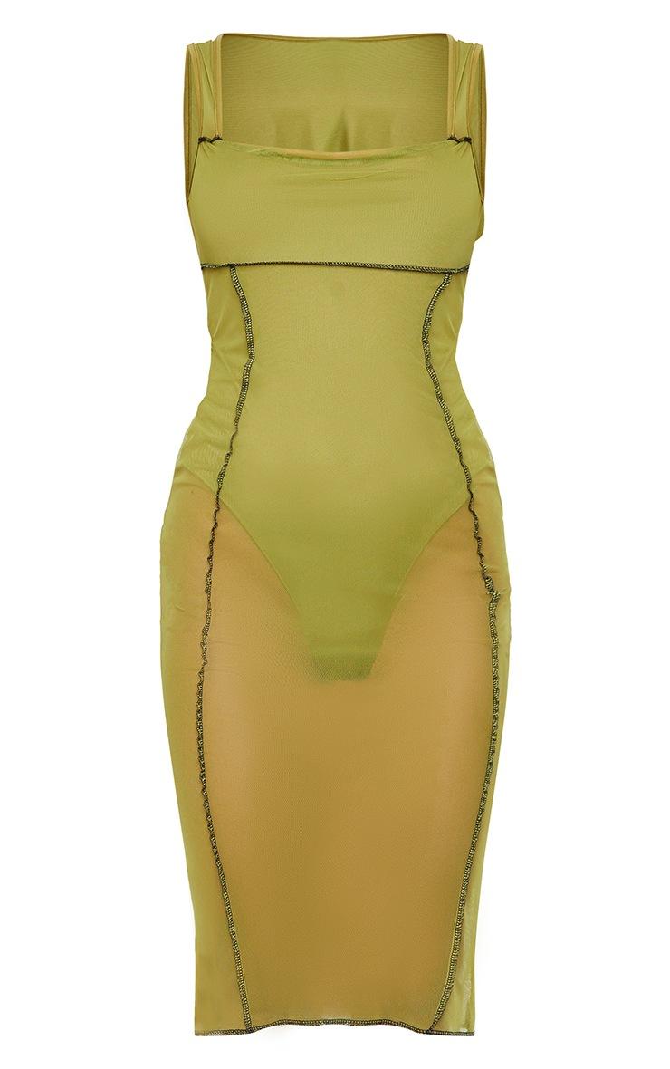 Olive Mesh Overlock Stitch Sleeveless Square Neck Midi Dress 5