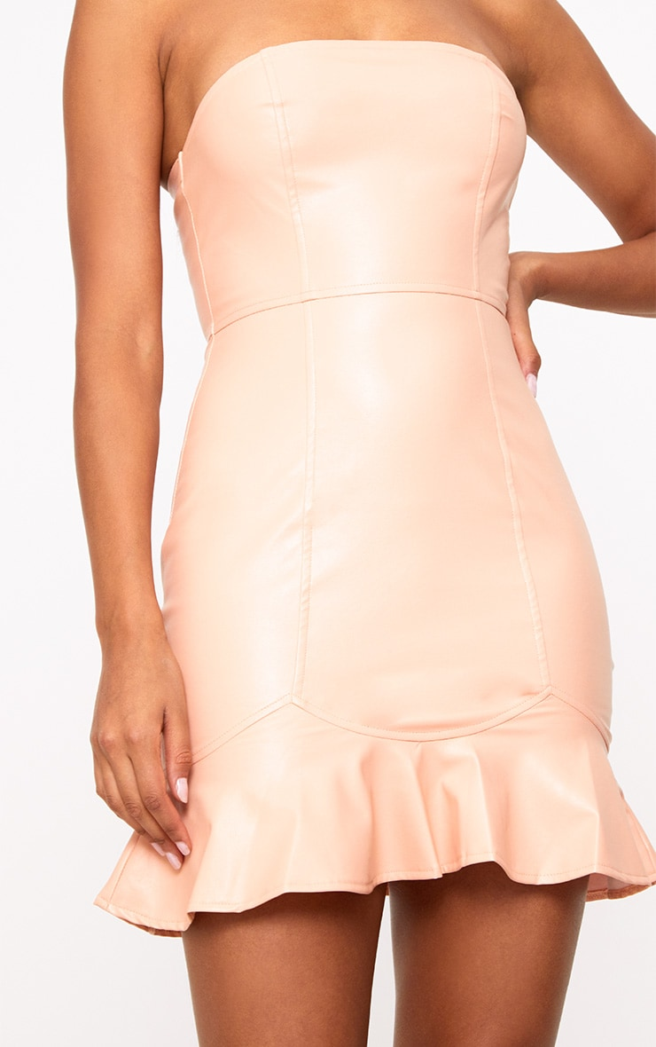 Nude PU Frill Hem Bodycon Dress 5