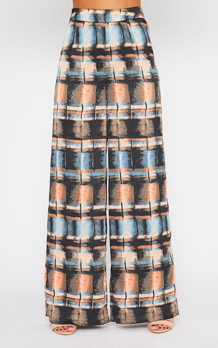 Jennifer Abstract Print Silky Palazzo Trousers 2