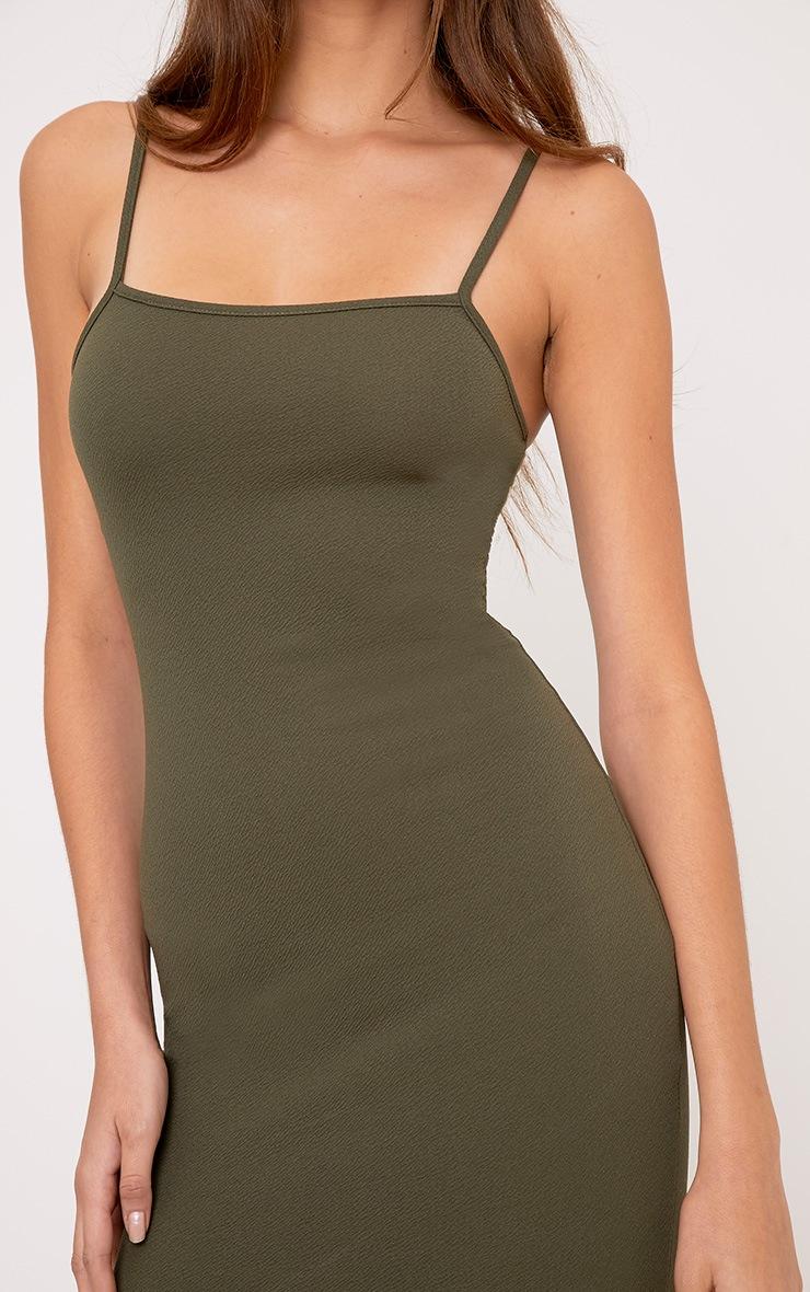 Lorah Khaki  Square Neck Midi Dress 5