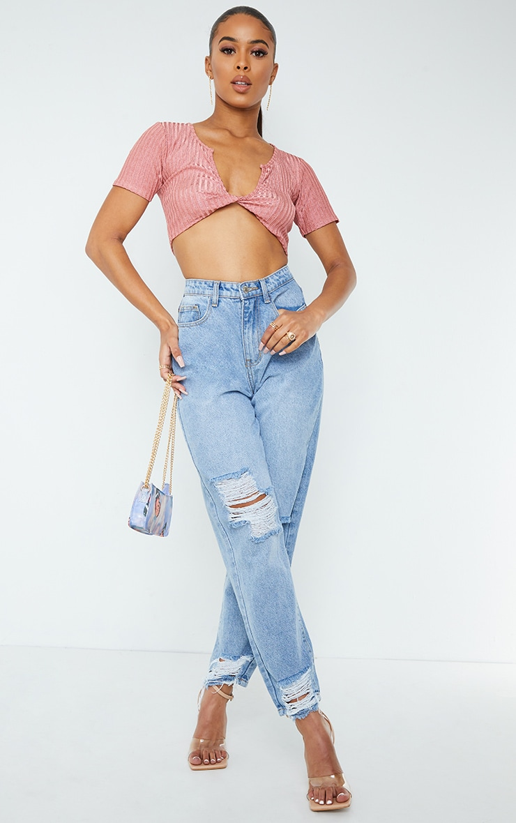 Pink Glitter Rib Twist Front Crop Top 3