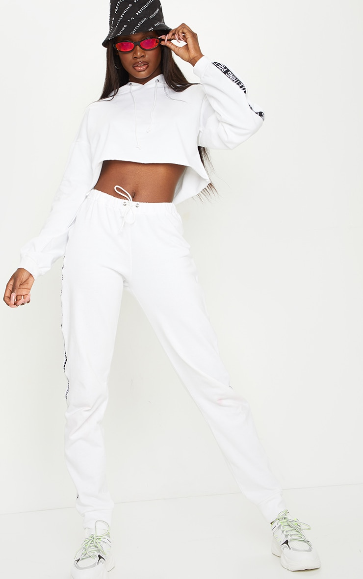 PRETTYLITTLETHING Tall White Cropped Hoodie 3