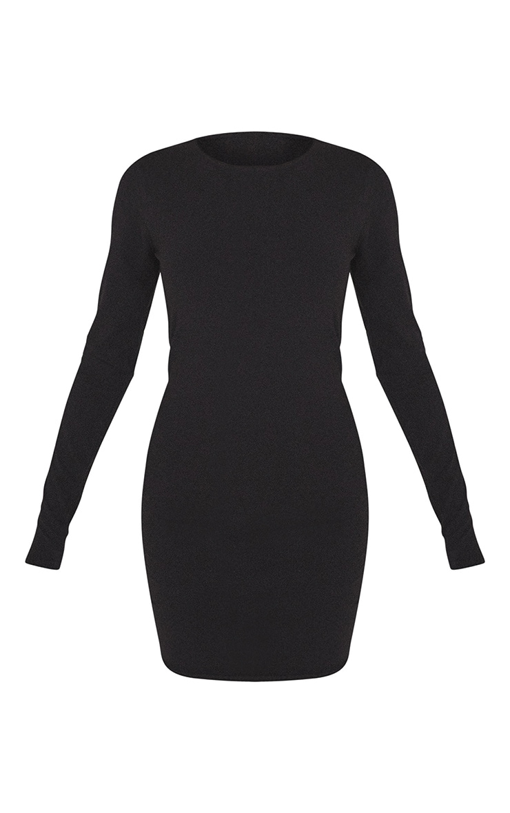 Essential Black Cotton Blend Long Sleeve Bodycon Dress 5