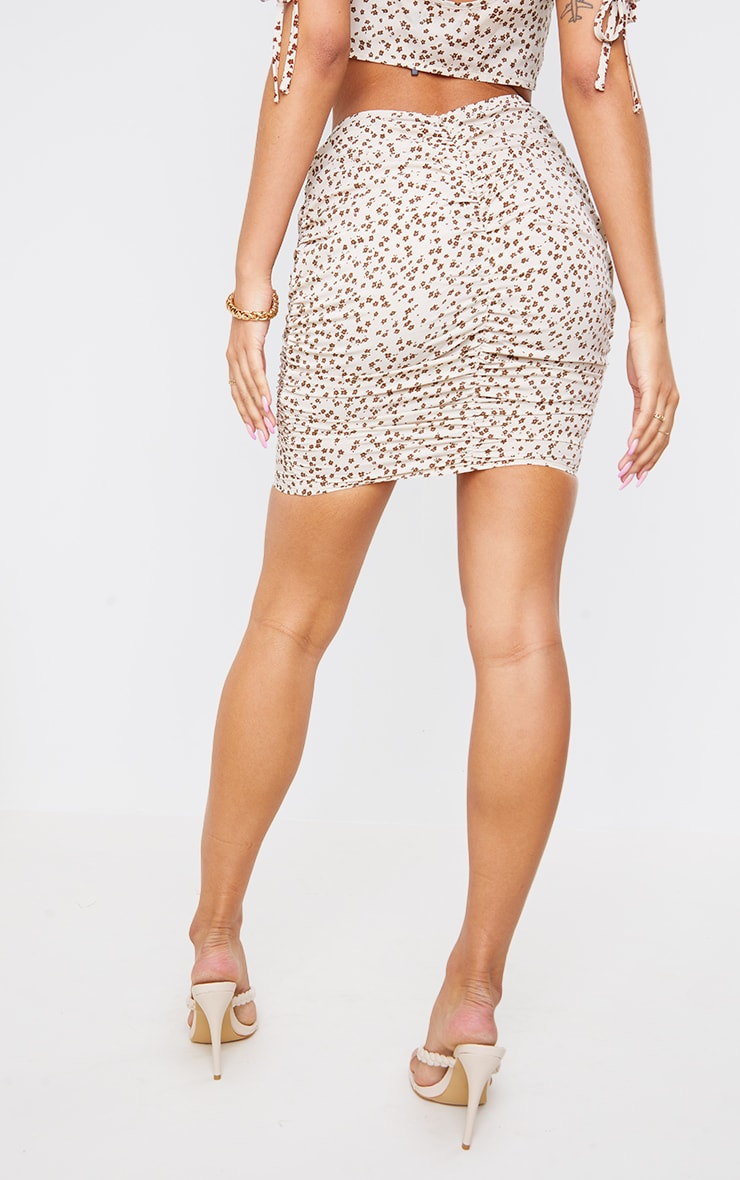 Cream Ditsy Floral Printed Woven Ruched Tie Detail Mini Skirt 3