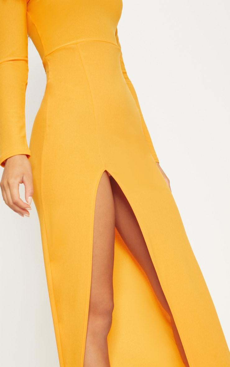 Papaya Shoulder Pad Extreme Split Maxi Dress 5