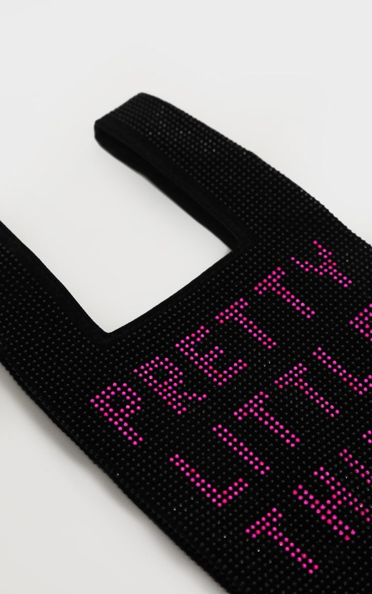 PRETTYLITTLETHING Black Diamante Slogan Mini Tote Bag 3