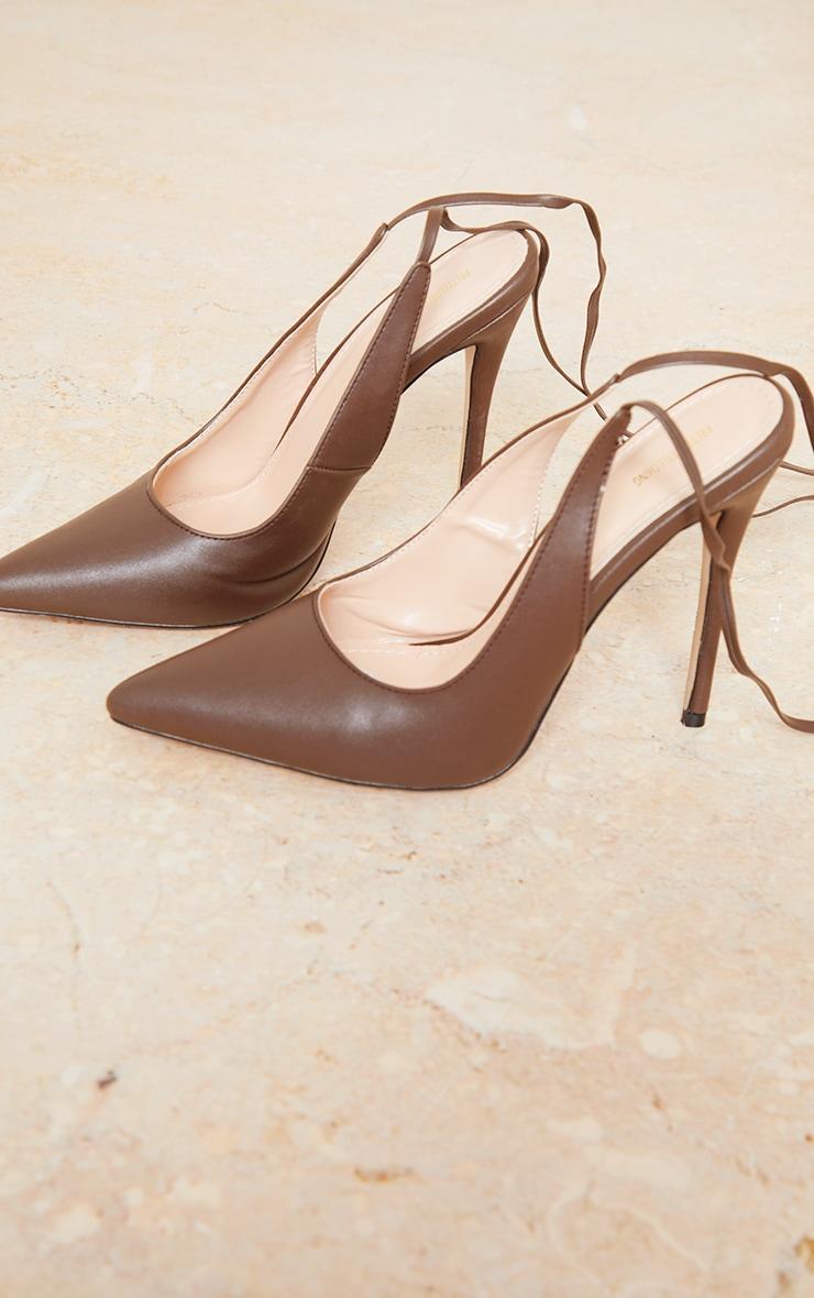 Chocolate PU Ankle Tie Court Shoe 3