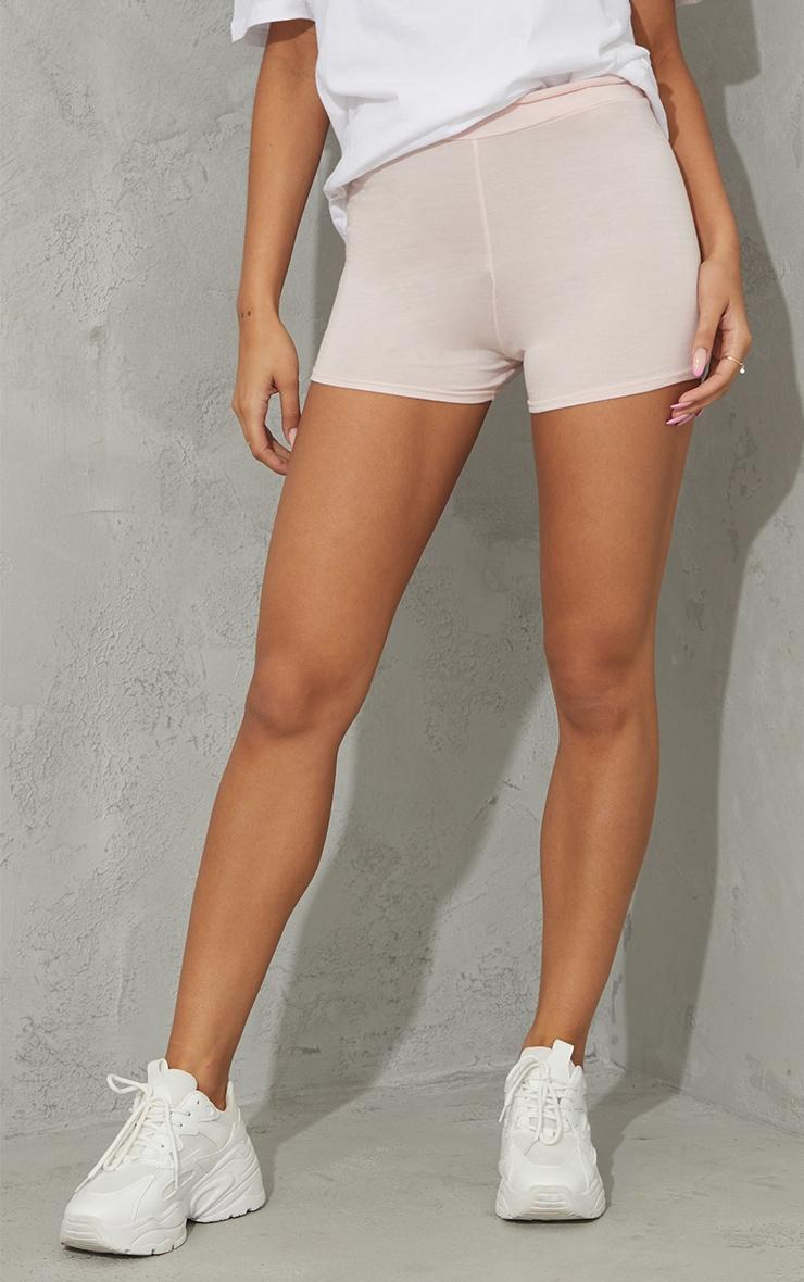 Basic Nude Jersey High Waist Hot Pants 2