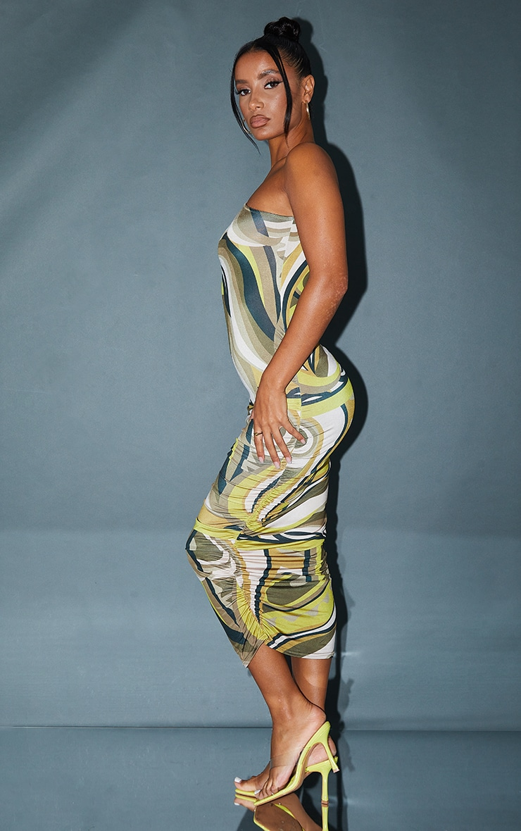 Brown Abstract Print Slinky One Shoulder Ruched Midi Dress 2