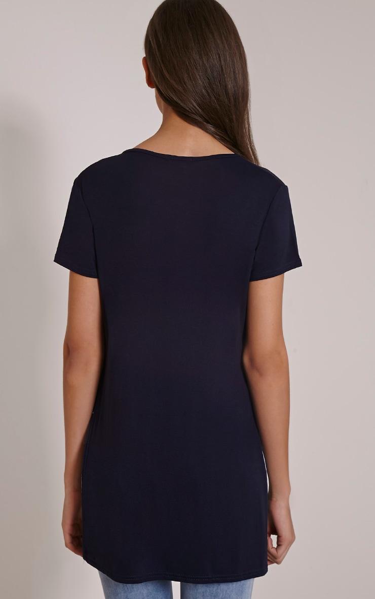 Basic t-shirt bleu marine fendu sur le côté 2
