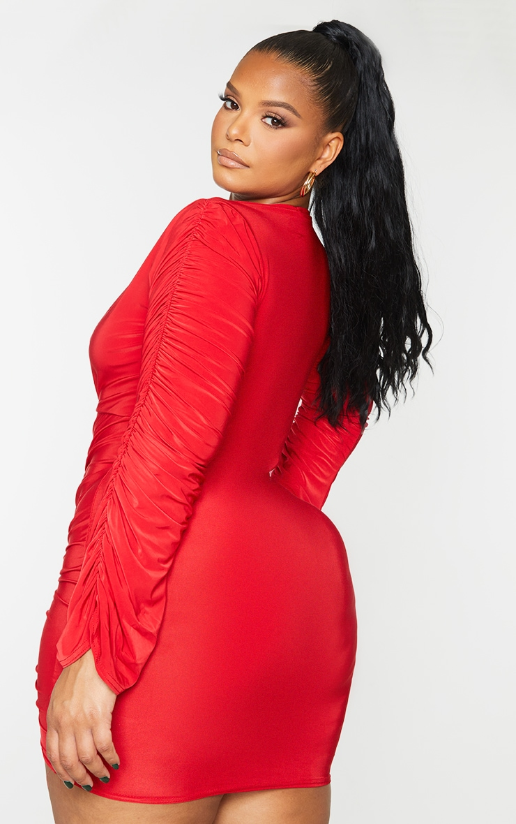 Plus Red Slinky Ruched Front Long Sleeve Dress 2