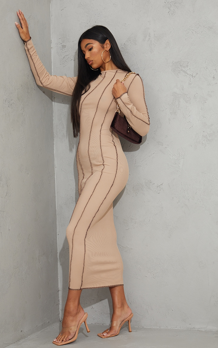 Nude Rib Asymmetric Seam Detail Long Sleeve Midi Dress