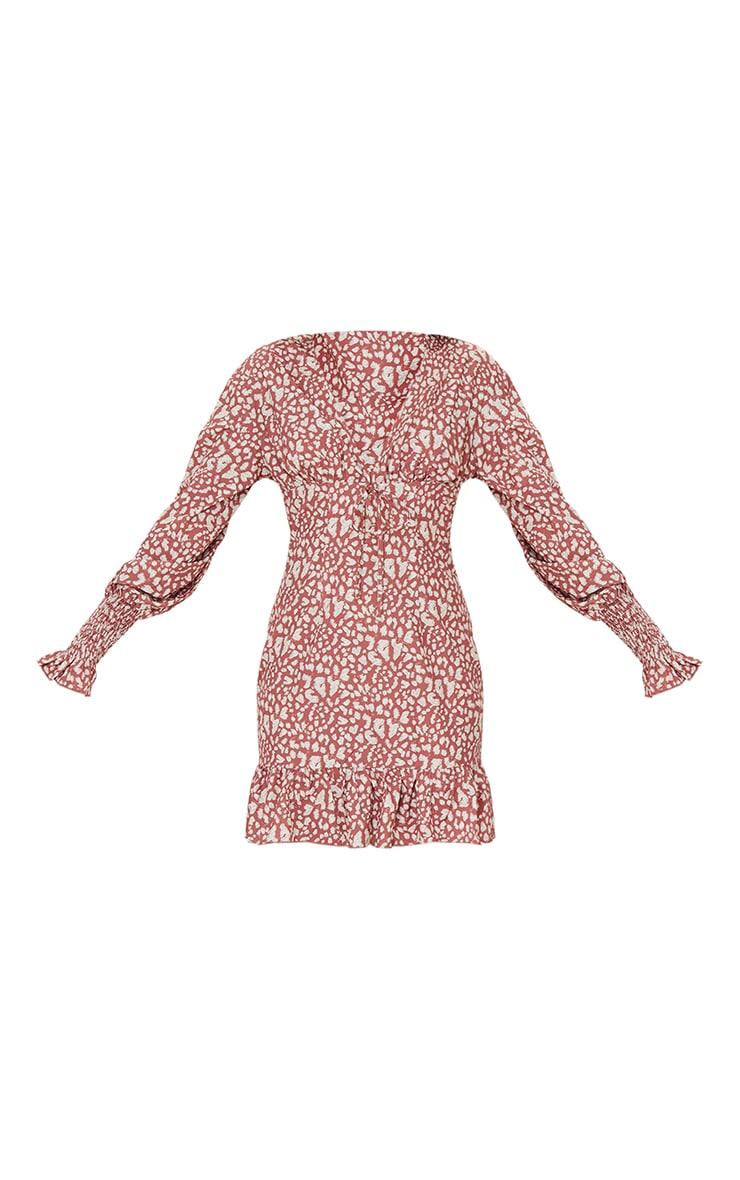 Blush Dalmatian Print Tie Front Detail Frill Hem Shift Dress 5