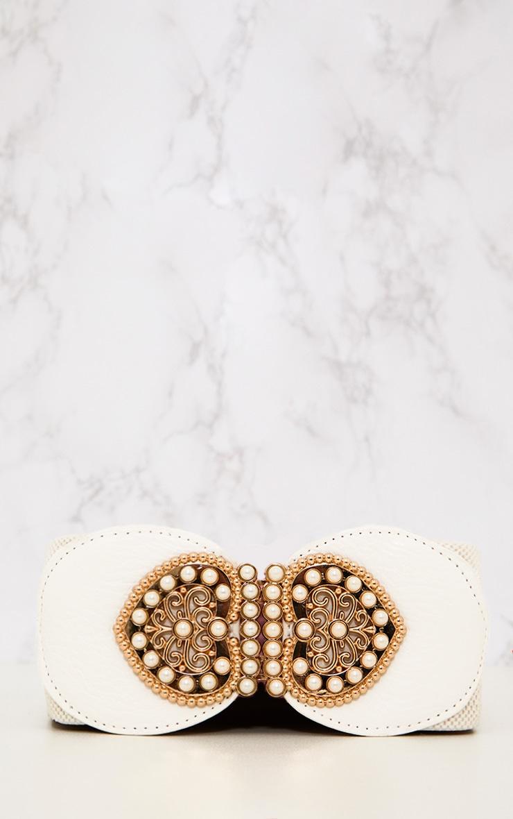 White Baroque Detail Waist Belt 2