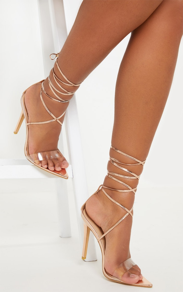 Rose Gold Clear Strap Point Toe Barely there Sandal 2