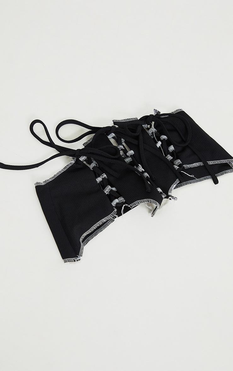 Black Frayed Edge Lace Up Corset Belt 2