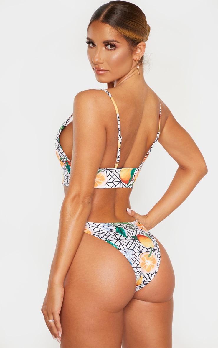 White Mosaic Lemon Padded Triangle Longline Bikini Top 2