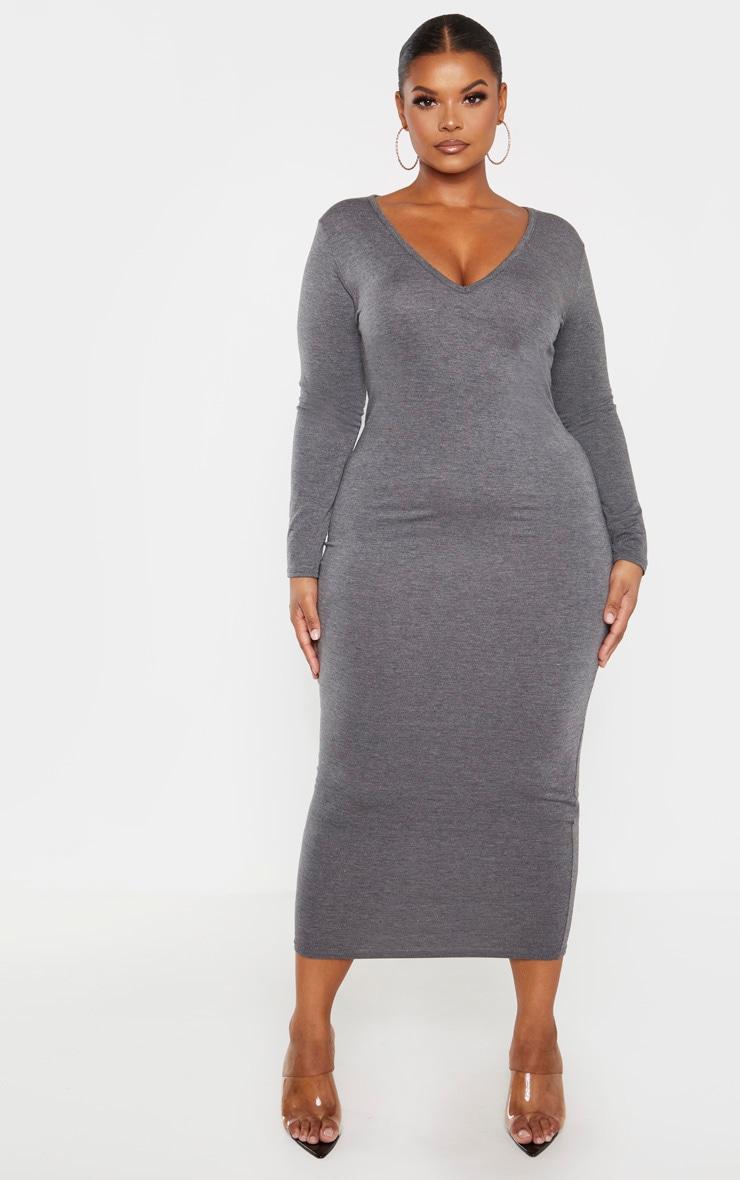 PLT Plus - Robe mi-longue gris anthracite jersey à manches longues et col en V 1