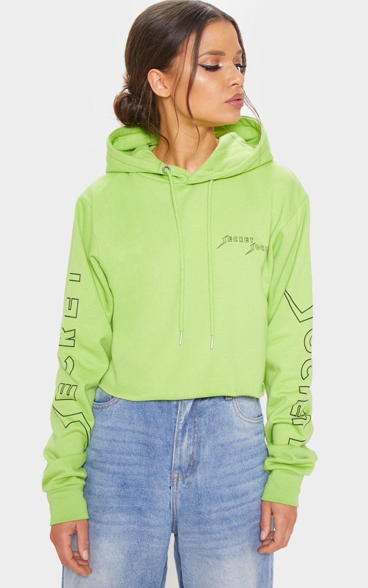 Neon Lime Secret Society Slogan Crop Hoodie 1