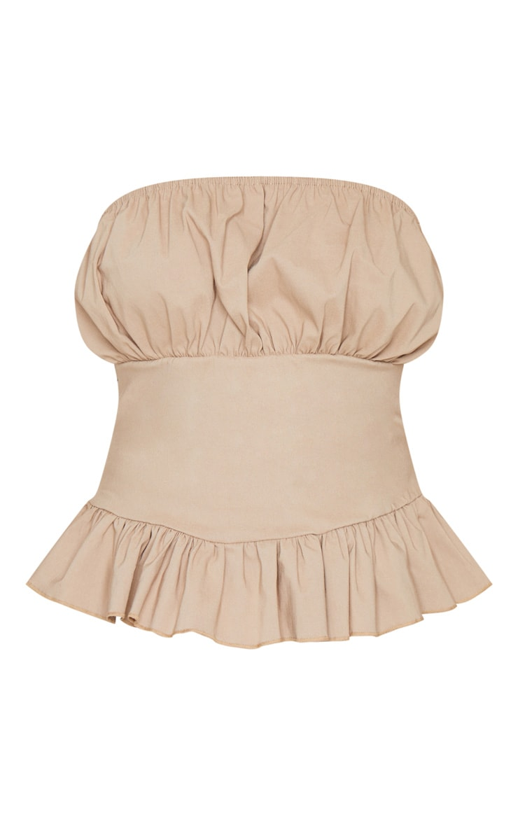 Camel Woven Ruched Cup Strapless Bandeau Top 5