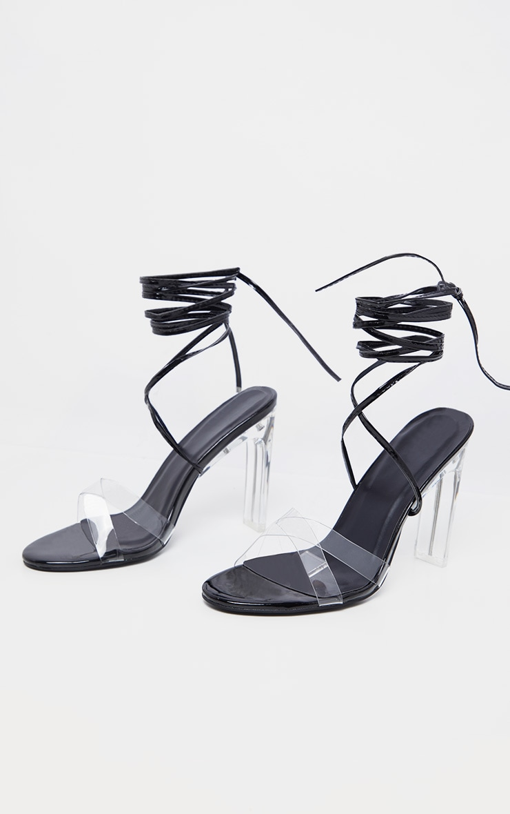 Black Clear Heel Ankle Tie Sandal 3