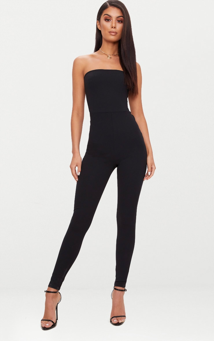 Black Bandeau Slim Leg Jumpsuit