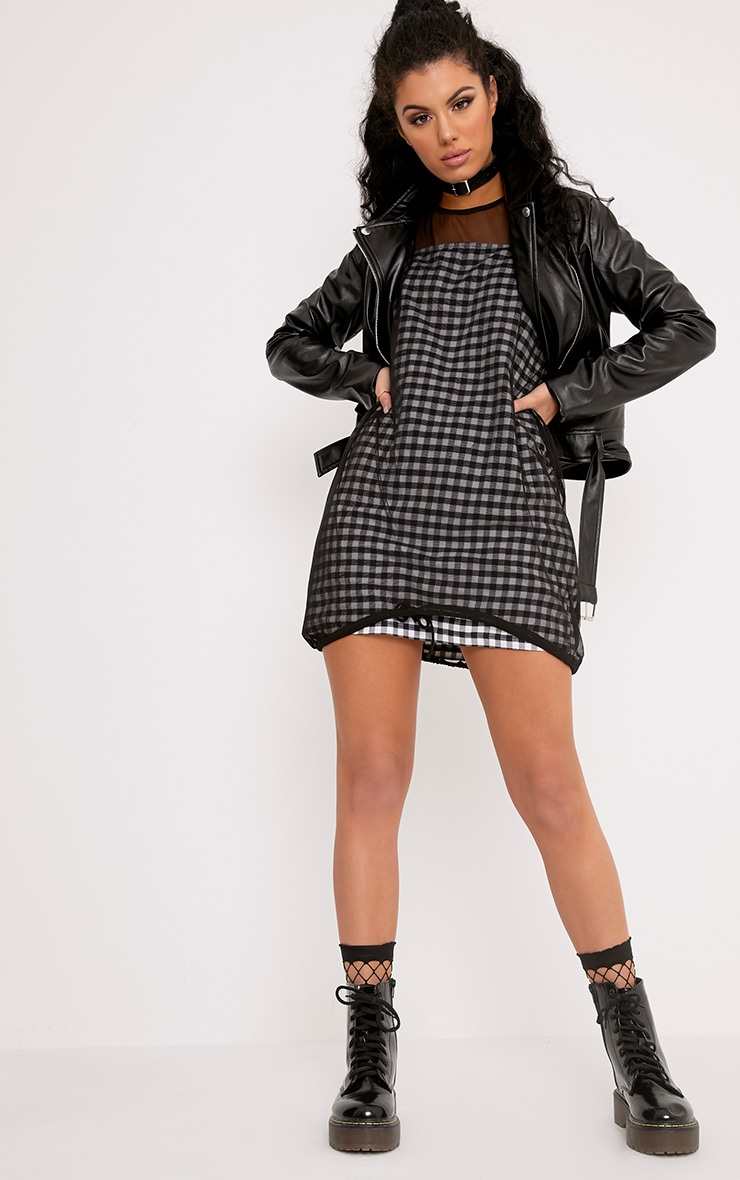 Raye Black Gingham Woven Shift Dress 4