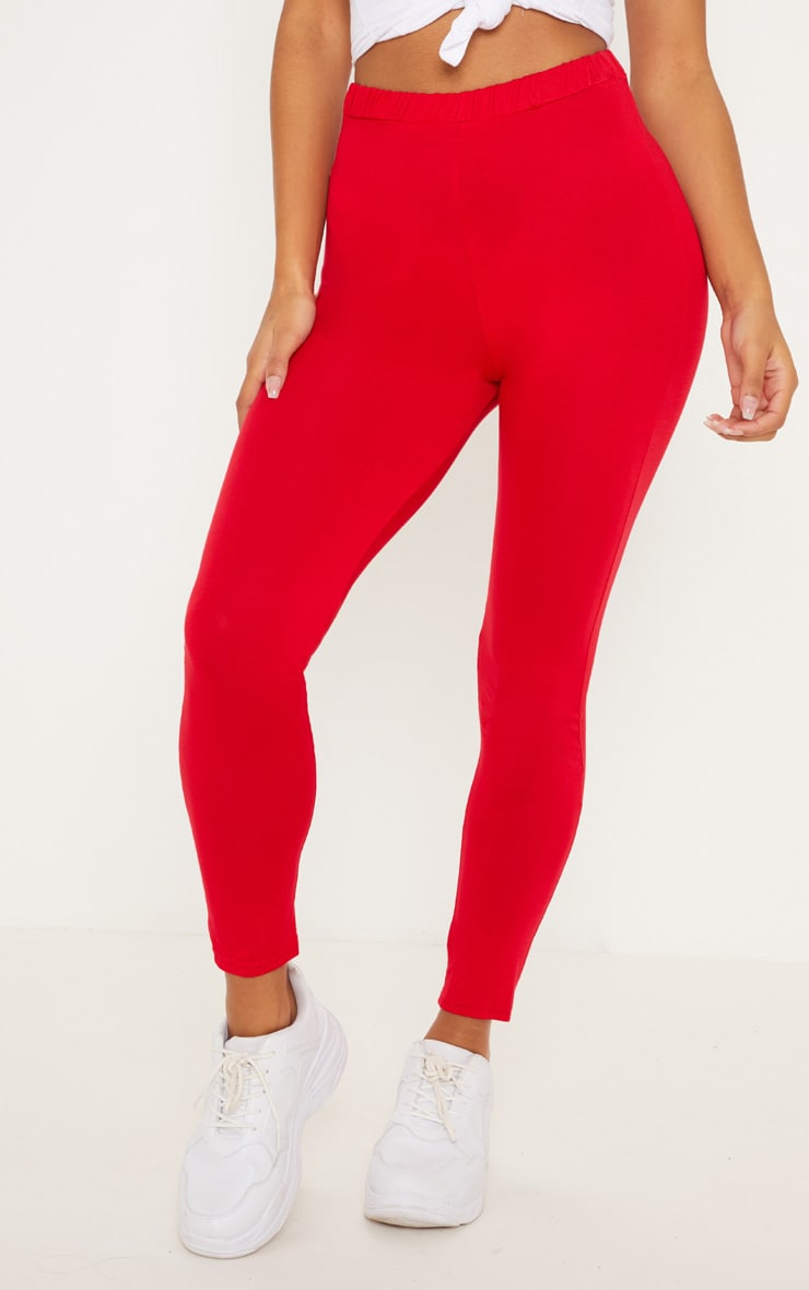Red Ruched Back Jersey Leggings 2
