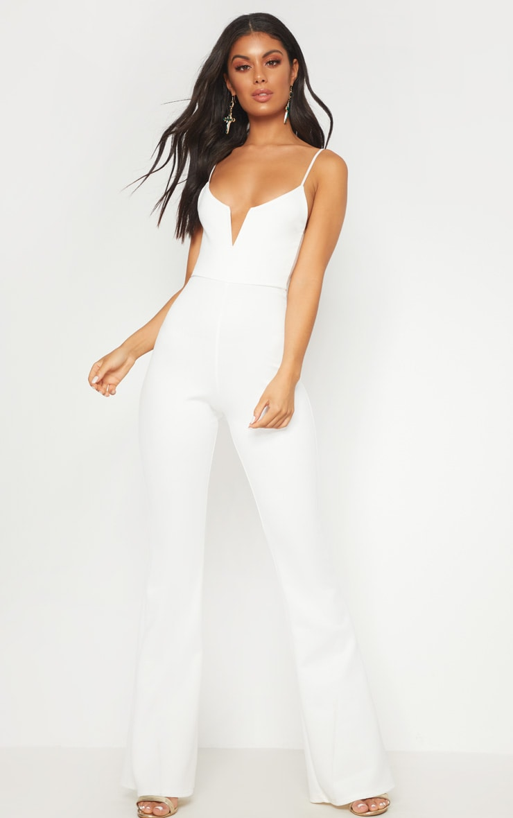 White Scuba V Bar Jumpsuit