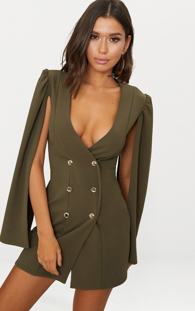 Khaki Cape Button Detail Blazer Dress 1