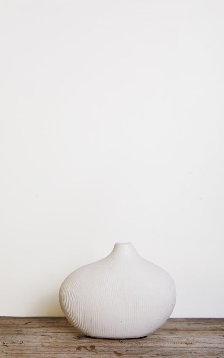 White Asymmetric Rounded Small Vase 3