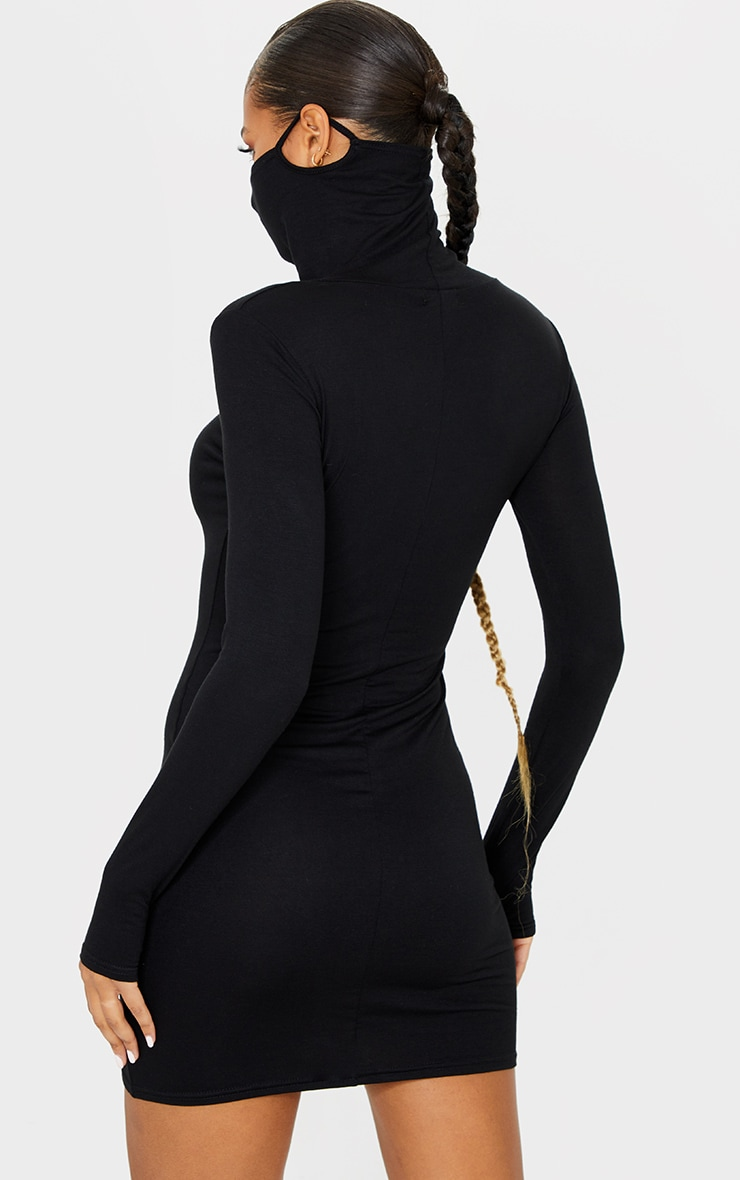 Black Jersey Long Sleeve Mask Bodycon Dress 2
