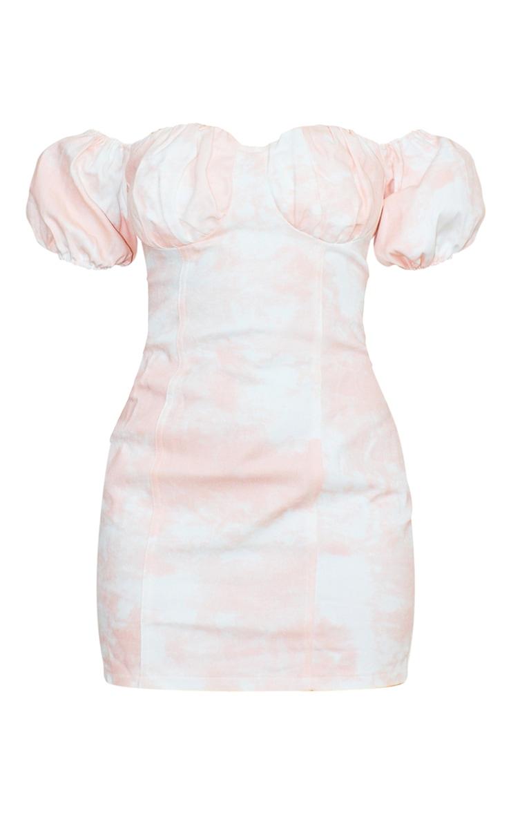 Petite Pink Tie Dye Denim Milkmaid Mini Dress 5