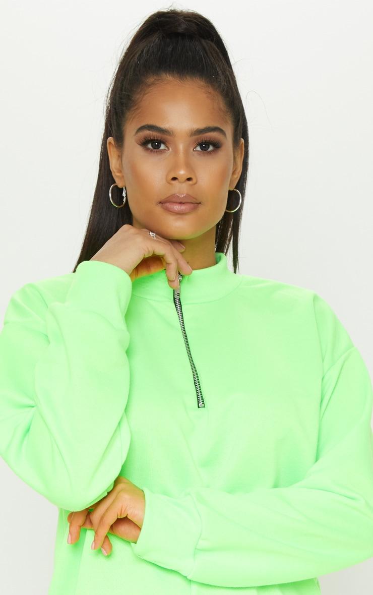 Neon Lime Zip High Neck Jumper Dress 5