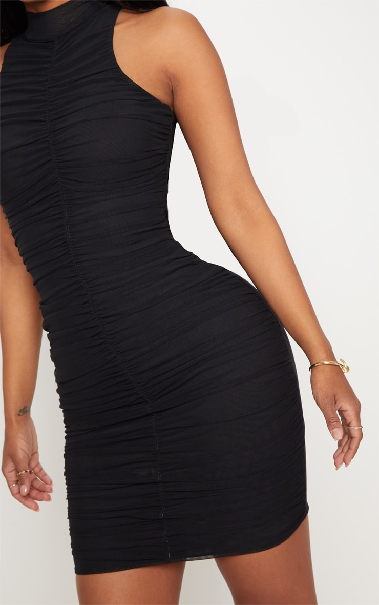 Shape Black Mesh High Neck Ruched Bodycon Dress 5