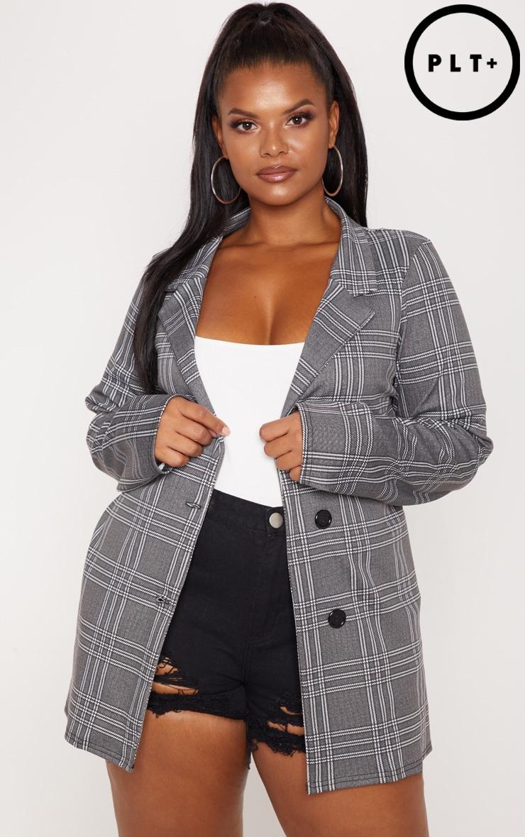 Plus Grey Checked Blazer 1