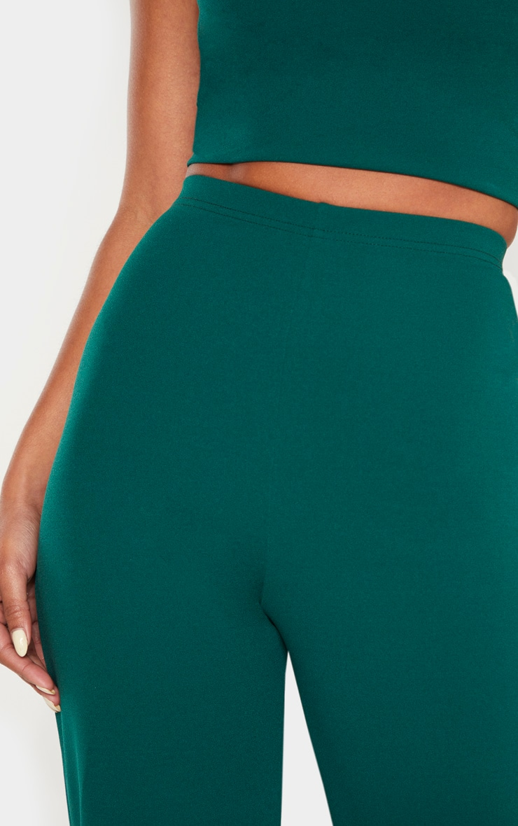 Emerald Crepe High Waisted Wide Leg Pants 5