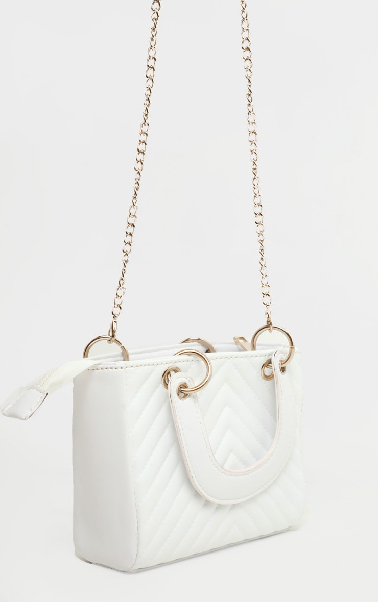 White Chevron Quilted Grab Bag 3
