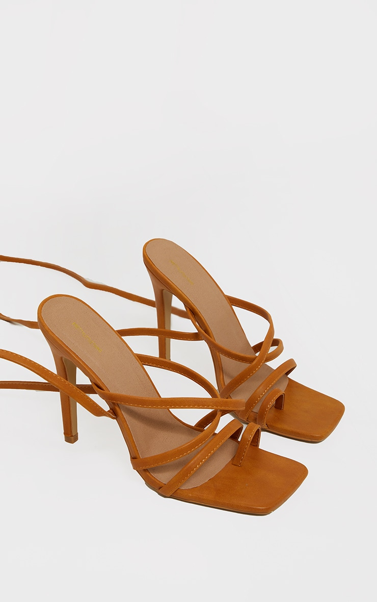 Sand Square Toe Strappy Lace Up High Heeled Sandals 2