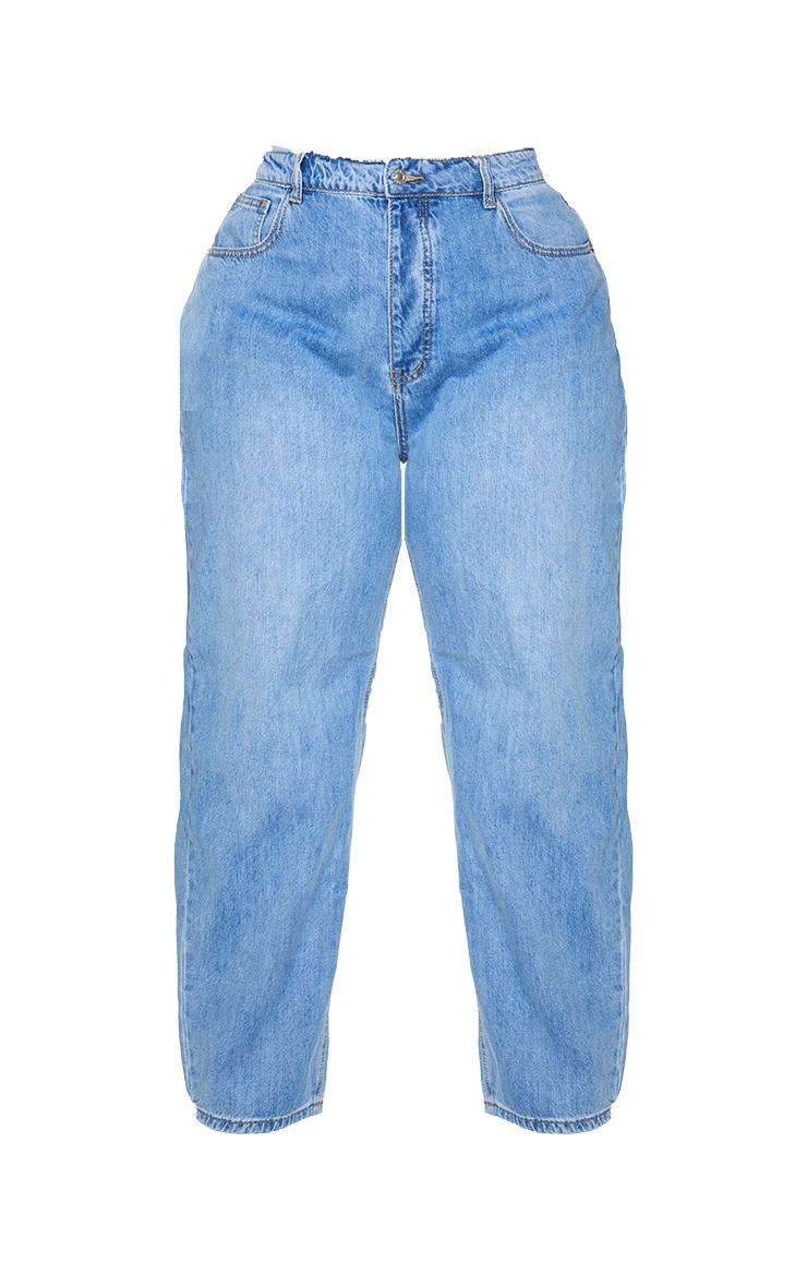 PRETTYLITTLETHING Plus Light Blue Wash Boyfriend Jeans 5