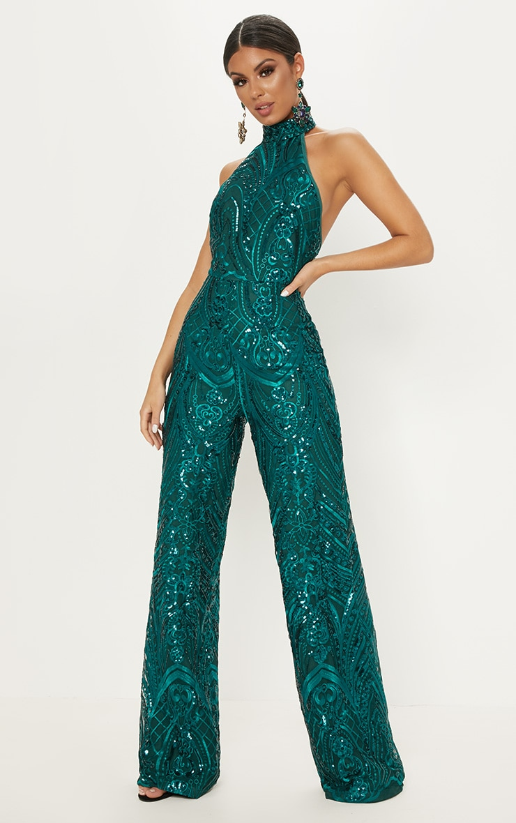 Green Sequin High Neck Jumpsuit 1