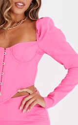 Bright Pink Puff Long Sleeve Bust Cup Corset 4