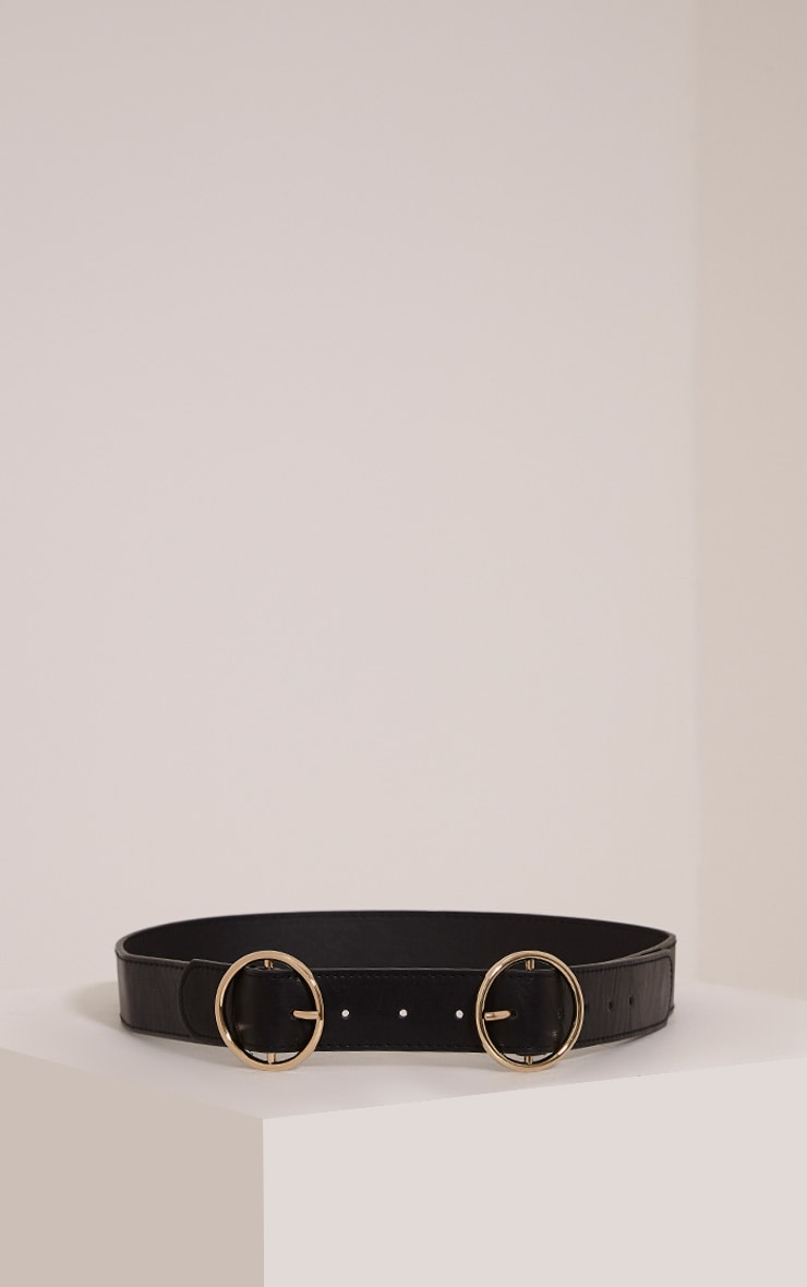 Braylee Black Double Buckle Circle Belt 1