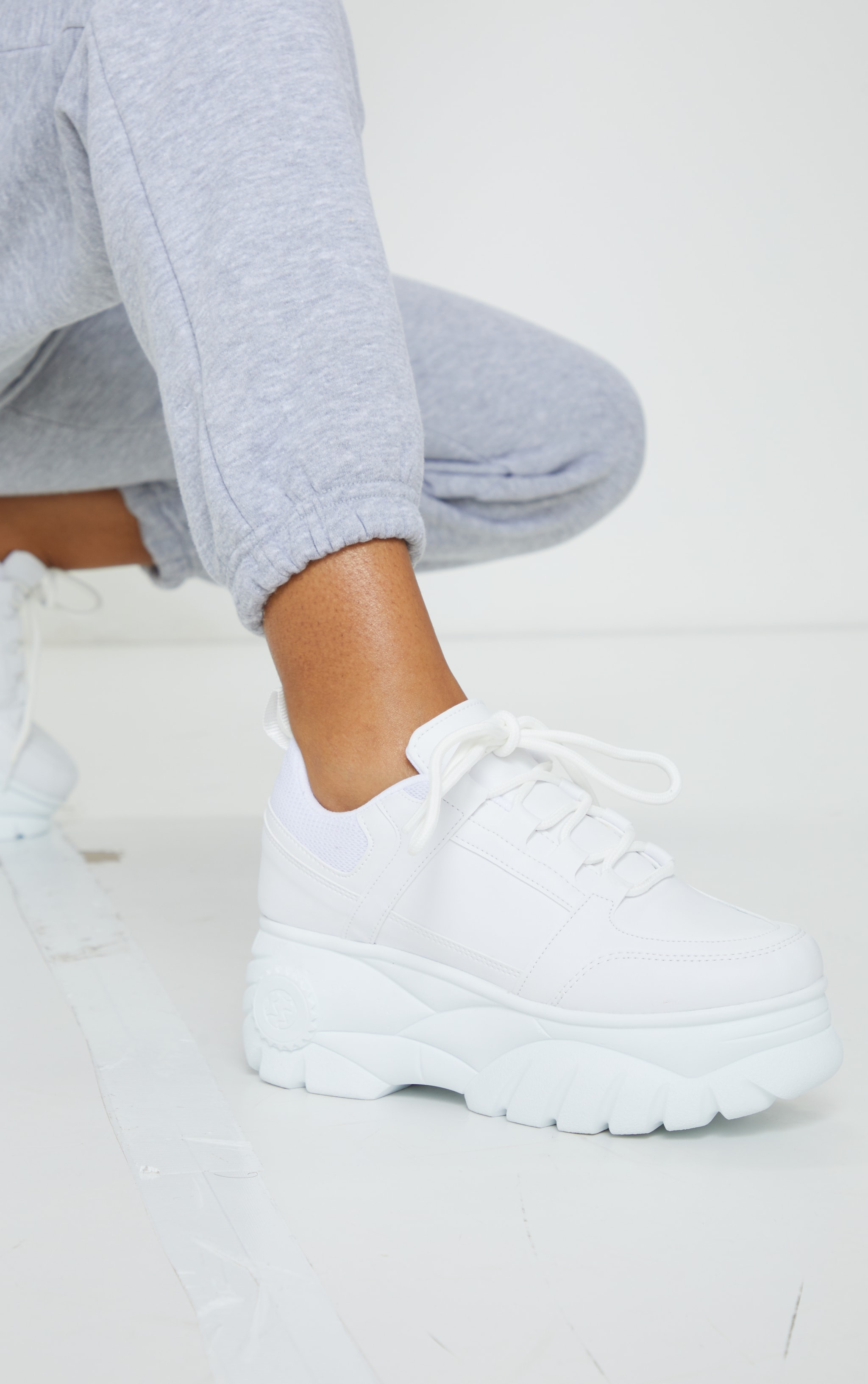 White Outer Shoe Loops Extreme Platform Sneakers 1