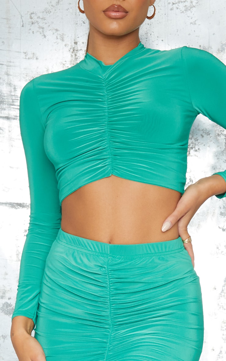 Bright Green Slinky High Neck Ruched Front Dip Hem Crop Long Sleeve Crop Top 4