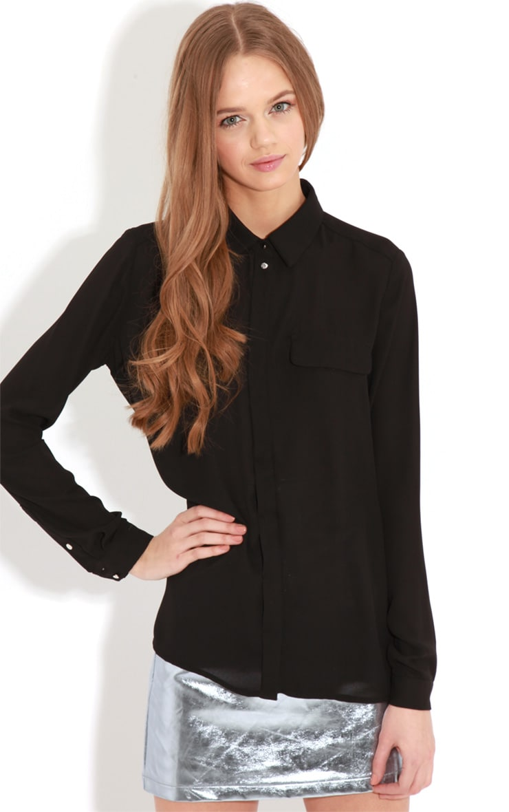 Eboni Black Chiffon Shirt  1